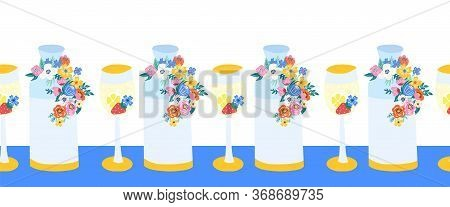 Summer Wine Glass And Water Carafe With Flowers Seamless Vector Border. Summer Garden Party Repeatin