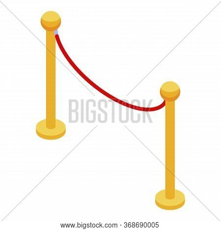 Museum Wire Barrier Icon. Isometric Of Museum Wire Barrier Vector Icon For Web Design Isolated On Wh