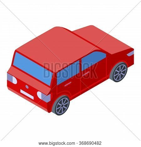 Red Small Car Icon. Isometric Of Red Small Car Vector Icon For Web Design Isolated On White Backgrou