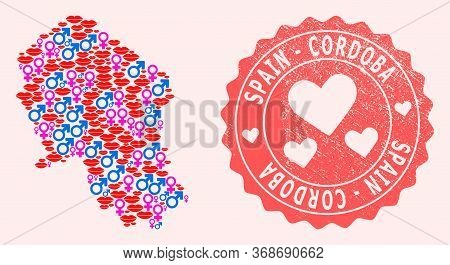 Vector Collage Of Sexy Smile Map Of Cordoba Spanish Province And Red Grunge Stamp With Heart. Map Of