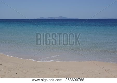A View Of The Aegean Sea At A Quiet, Beautiful Beach On The Charming Greek Island Of Donoussa. Cryst
