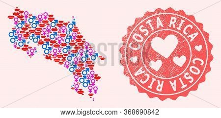 Vector Collage Of Love Smile Map Of Costa Rica And Red Grunge Stamp With Heart. Map Of Costa Rica Co
