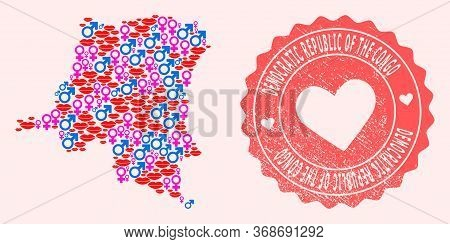 Vector Collage Of Love Smile Map Of Democratic Republic Of The Congo And Red Grunge Seal With Heart.