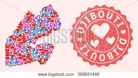 Vector Collage Of Love Smile Map Of Djibouti And Red Grunge Seal With Heart. Map Of Djibouti Collage