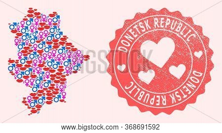 Vector Collage Of Sexy Smile Map Of Donetsk Republic And Red Grunge Seal Stamp With Heart. Map Of Do
