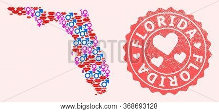 Vector Collage Of Sexy Smile Map Of Florida State And Red Grunge Seal With Heart. Map Of Florida Sta