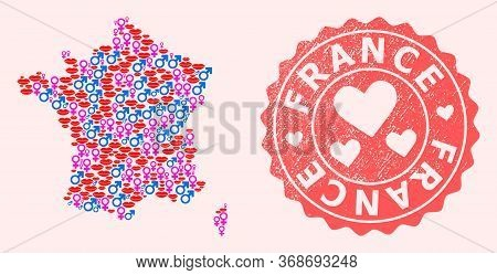 Vector Collage Of Love Smile Map Of France And Red Grunge Stamp With Heart. Map Of France Collage Fo
