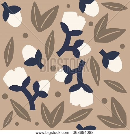 Neutral Colored Floral Pattern. Brown Bold Flowers Or Cotton Neutral Seamless Repeat Pattern. Bold,