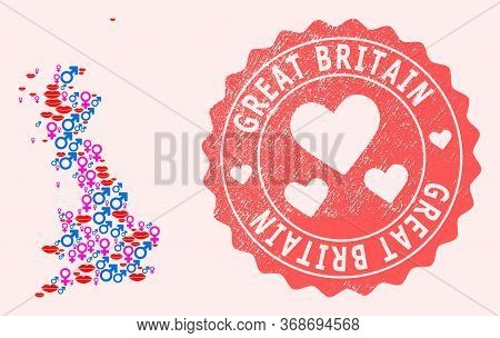 Vector Collage Of Love Smile Map Of Great Britain And Red Grunge Seal With Heart. Map Of Great Brita
