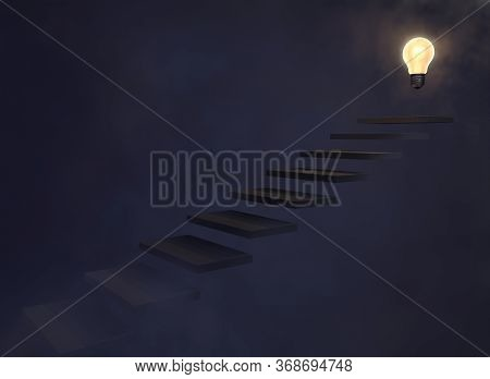 A 3d Illustration Of Stone Steps Floating Up Out Of A Misty Darkness To A Bright Shining Light Bulb.