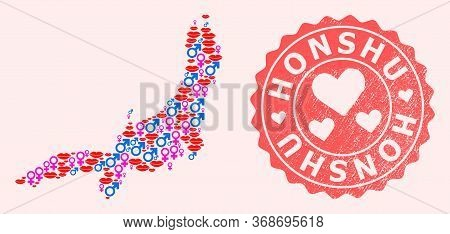 Vector Collage Of Love Smile Map Of Honshu Island And Red Grunge Seal With Heart. Map Of Honshu Isla