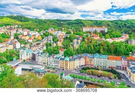 Karlovy Vary Carlsbad Historical City Centre Top Aerial View With Colorful Beautiful Buildings, Slav