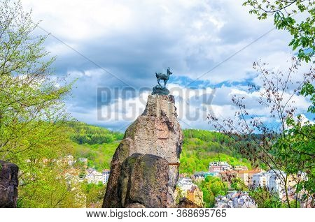 Chamois Statue Socha Kamzika At Deer Jump Jeleni Skok Lookout With Karlovy Vary Carlsbad Colorful Be