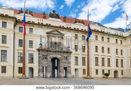 Matthias Gate Of New Royal Palace Novy Kralovsky Palac And Eu And Czech Flags At Flagpole In Prague