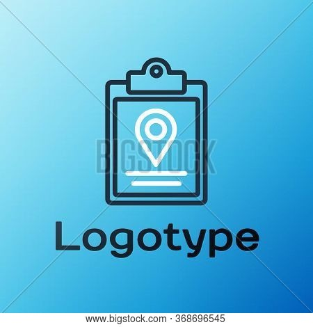 Line Document Tracking Marker System Icon Isolated On Blue Background. Parcel Tracking. Colorful Out