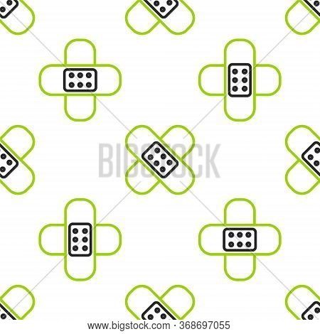 Line Crossed Bandage Plaster Icon Isolated Seamless Pattern On White Background. Medical Plaster, Ad
