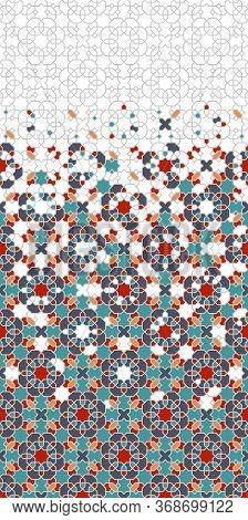 Arabesque Wallpaper Border. Mosaic Seamless Vector Pattern. Geometric Arabesque Halftone Border Patt