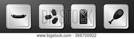 Set Hotdog Sandwich, Chicken Nuggets, Doner Kebab And Chicken Leg Icon. Silver Square Button. Vector