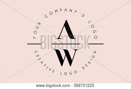 Letters Aw A W Logo Set As A Stamp Or Personal Signature. Simple Aw Icon With Circular Name Pattern.