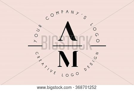 Letters Am A M Logo Set As A Stamp Or Personal Signature. Simple Am Icon With Circular Name Pattern.