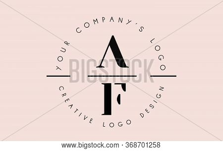 Letters Af A F Logo Set As A Stamp Or Personal Signature. Simple Af Icon With Circular Name Pattern.