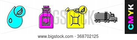 Set Bio Fuel, Oil Petrol Test Tube, Bio Fuel Canister And Tanker Truck Icon. Vector.
