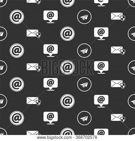 Set Paper Plane, Envelope With Shield, Mail And E-mail And Mail And E-mail On Speech Bubble On Seaml