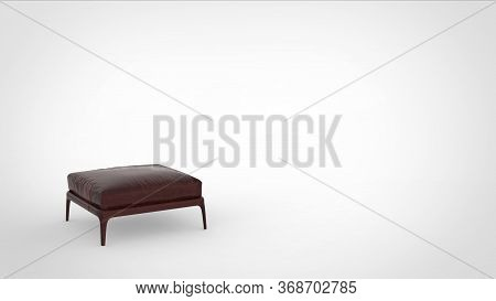 3d Render Of A Metallic Quadruped Sitting Stool With Leather Matttress And Space For Text