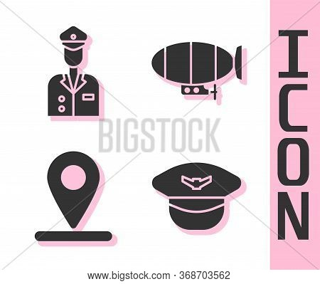 Set Pilot Hat, Pilot, Location And Airship Icon. Vector.