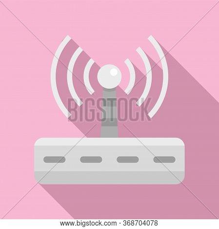 Wifi Router Radiation Icon. Flat Illustration Of Wifi Router Radiation Vector Icon For Web Design
