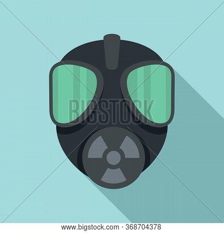 Gas Radiation Mask Icon. Flat Illustration Of Gas Radiation Mask Vector Icon For Web Design