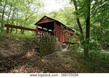Josiah Hess Covered Bridge By Huntington Creek, In Fishing Creek Township, In Orangeville.  The Brid