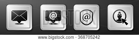 Set Envelope, Mail And E-mail, Shield With Mail And E-mail And Create Account Screen Icon. Silver Sq