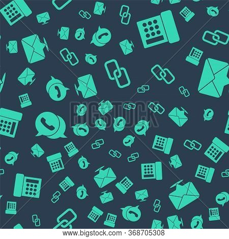 Set Chain Link, Telephone, Telephone With Speech Bubble Chat And Envelope On Seamless Pattern. Vecto