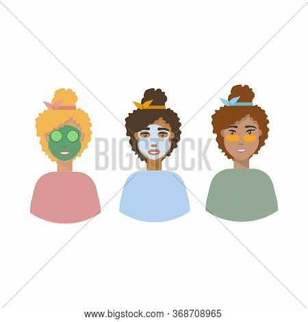 Background Vector Illustration, Personal Hygiene. Girls With Masks On Their Faces. Girls Demonstrate