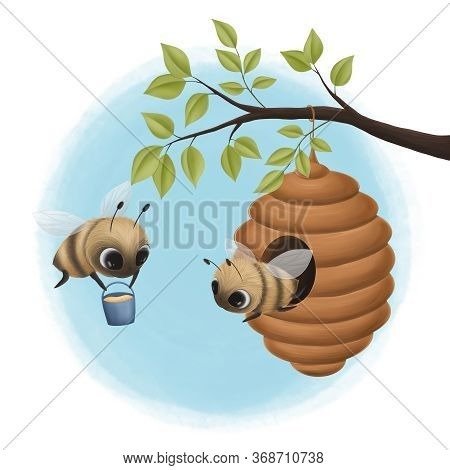 Beehive On A Branch And Little Bees. Digital Illustration