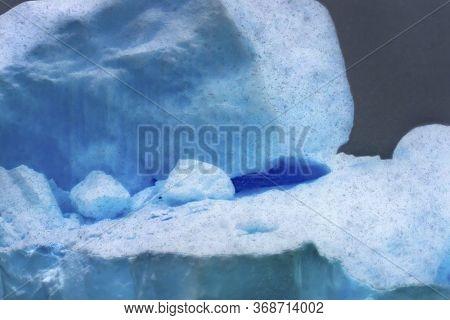 Snowing Blue Iceberg Abstract Closeup Paradise Bay Skintorp Cove Antarctica. Glacier Ice Blue Becaus
