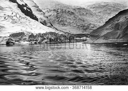 Black And White Glacier Snow Mountains Paradise Bay Skintorp Cove Antarctica. Glacier Ice Blue Becau