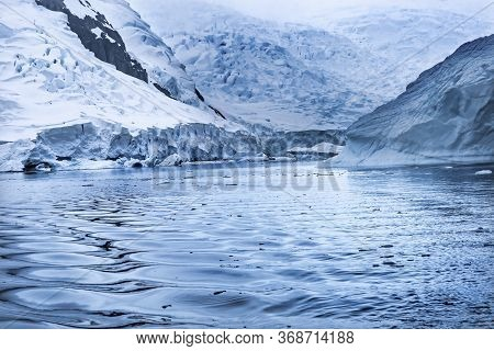Blue Glacier Snow Mountains Paradise Bay Skintorp Cove Antarctica. Glacier Ice Blue Because Air Sque