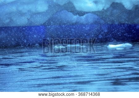 Snowing Blue Abstract Under Iceberg Reflection Paradise Bay Skintorp Cove Antarctica. Glacier Ice Bl