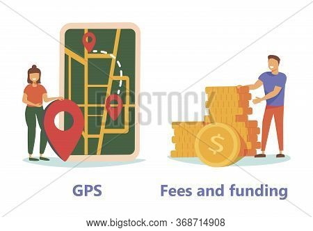 Gps Navigation Service Application. Business Investment And Money Savings Cliparts Set. Fees And Fun
