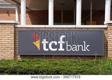Crystal, Minnesota - May 29, 2020: Sign And Logo For A Tcf (twin Cities Federal) Bank Branch