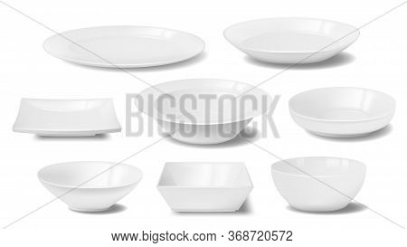 White Plate, Dish And Food Bowl Realistic Mockups Of Vector Dishware And Tableware. Empty Clean Cera