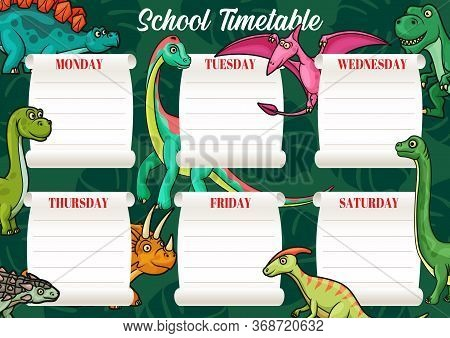 School Timetable Or Education Schedule Vector Template On Background With Dinosaur Animals. Student