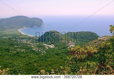Buljarica Beach From Above In Budva, Montenegro. Tourist Destination Beach On The Coast Of Mediterra
