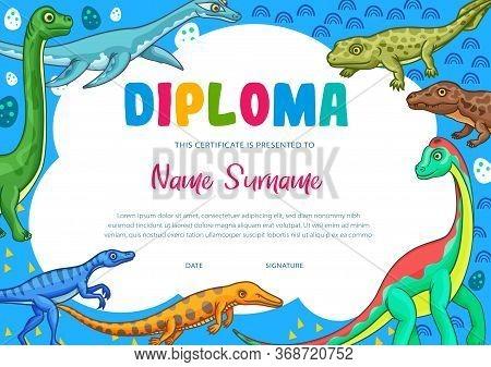 Education Diploma Certificate Vector Template Of School Graduation, Kindergarten Or Preschool Achiev