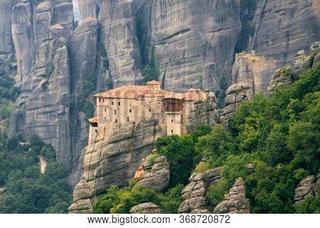 Rousanou Monastery At Meteora Zoom Photo, Greece. The Monasteries Of Meteora Is Picturesque Religiou