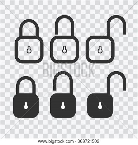 Lock Vector Icons Set. Illustration Isolated On Transparent Background For Graphic And Web Design. E