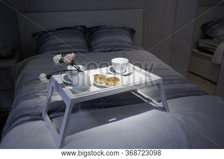 Breakfast In Bed. Donuts For Breakfast. Breakfast In Bed At Weekend