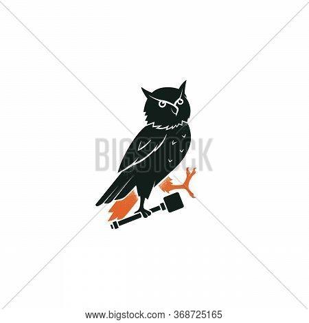 Heraldic Owl Passant Of A Family Crest. Vintage Bird Vector Emblem. Black Silhouette Logo Design, En